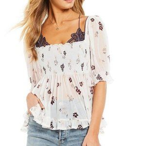 Free People Delta Dawn Top in Ivory Peasant Top XS
